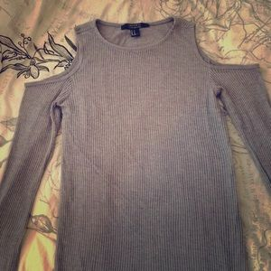 Gray Cut-Out Sweater Dress